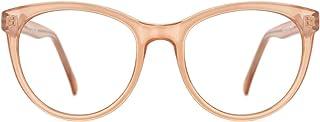 TIJN Occhiali vintage blu chiaro che bloccano laffaticamento degli occhi Struttura irregolare in metallo sottile per donna e uomo