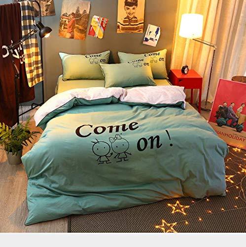 HDBUJ dekbedovertrek lichtgroen, dekbedovertrekset van polyester, twee kussenslopen, letters in het Engels, eenpersoonsbed (tweepersoonsbed)