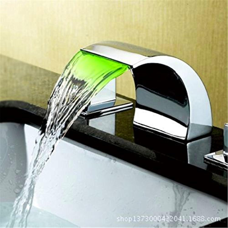 LaLF Europischer Wasserhahn Kupfer antike LED Wasserfall Drei-Loch-Badezimmerschrank Split Waschbecken Wasserhahn heien und kalten Waschbecken Wasserhahn