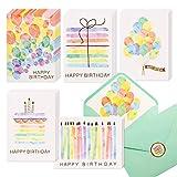 Geburtstagskarten, verschiedene Aquarell- und Goldfolie, blanko, 100 Stück