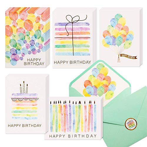 100 Happy Birthday Cards, Assorted Watercolor & Gold Foil Blank Birthday Notes Pack, Bulk Boxed Assortment Set of Greeting Note Cards w/Envelopes & Stickers