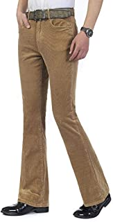 Men Corduroy Bell Bottom Flares Pants Slim Fit 60s 70s Vintage Bootcut Trousers