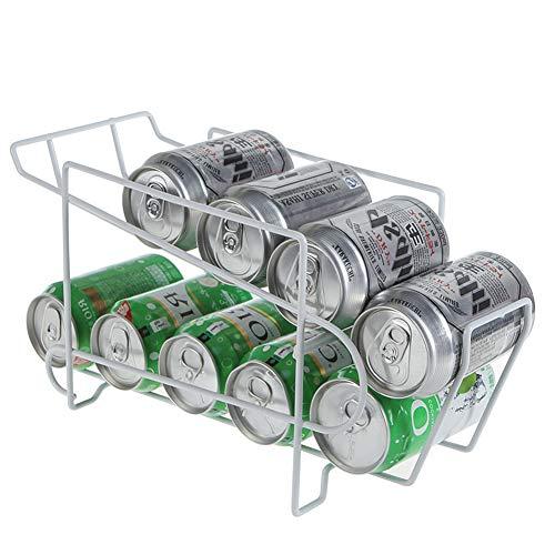 Dispensador de latas de bebidas Rain Queen – Estante de almacenamiento para latas de refrescos de 2 niveles, organizador para latas de cerveza nevera, armario de cocina, despensa, frigorífico, blanco