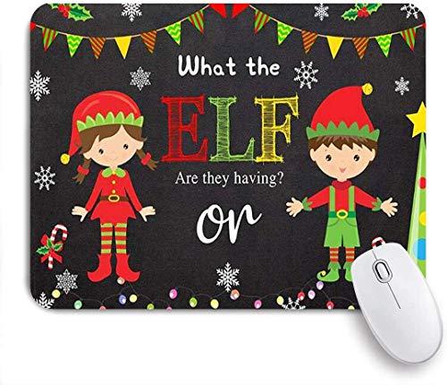 Gaming Mouse Pad rutschfeste Basis, Winter Weihnachten Elf Geschlecht offenbaren Fotografie Hintergrund Rot Grün Elf bunte Flagge Lichterketten Jungen oder Mädchen Party Dekoration Foto, für Büro
