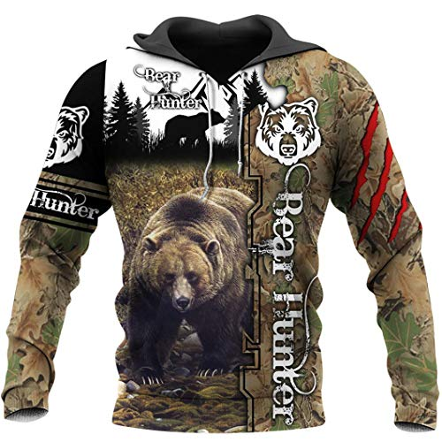 Bear Hunter 3D Printed Men Hoodie Harajuku Sudadera Chaqueta Pullover Hoodies 7XL