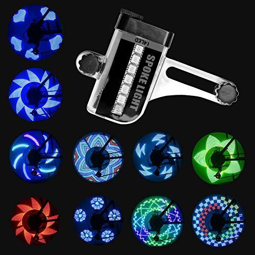Herefun 2pcs Luces para Ruedas de Bicicleta, Luz LED para Radios de Bicicleta Luces Impermeables para Rueda de Bicicleta, Interruptor Sensorial Luces Bicicleta 30 Patrones Luces de Seguridad (Negro)