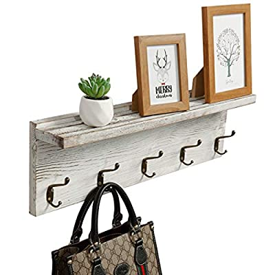"OROPY Rustic Entryway Coat Rack Shelf 23.6"" Length, Solid Wood Wall Mounted Clothes Rack with 5 Hooks and Display Shelf for Hallway, Bathroom, Living Room, Bedroom, Kitchen Storage, Rustic White - 【High Quality Material】 Made of natural solid wood, durable and sturdy, healthy and eco-friendly, with the smooth surface, it is easy to clean the shelf with a cloth. (the actual product maybe slightly different from the pictures due to the different textures of the wooden material or manufacturing variations) 【Elegant Design】 This decorative vintage wooden coat rack shelf is perfect for organizing any entryway, hallways, foyer, bedroom, kitchens, bathroom or closet. Good choice for rooms that need a little extra space or organization. With the rustic white finish, this coat rack shelf fits perfectly with any styles of rooms 【Multi-purpose】 Five double metal hooks make it easy to hang keys, coats, jackets, hats, towels, baseball caps, scarfs, belts, bags and dog leashes; the upper flat shelf is perfect for storing smaller items like herbs, spices, bathroom necessities or displaying picture frame, small plants, art work - entryway-furniture-decor, entryway-laundry-room, coat-racks - 51F8Ue V76L. SS400  -"