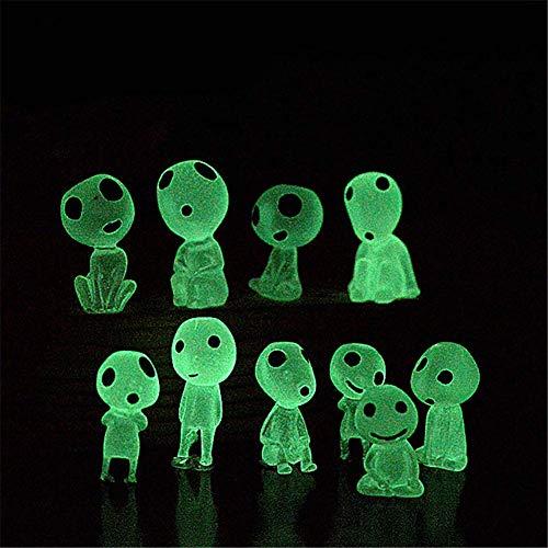 Molinter Mini décoration de jardin - figurines du dessin animé Princesse Mononoke « Elfes des arbres » lumineuses, décoration micro-paysage en résine pour maison de poupée,10 pièces
