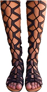 Womens Open Toe Lace Up Wrap Gladiator Over The Knee Thigh High Caged Flat Sandal Roma Boot
