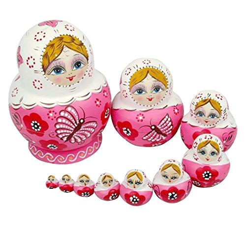 ANKKO 10 Stück Holz Russische Matroschka Puppen Bemalte Puppen, Rosa
