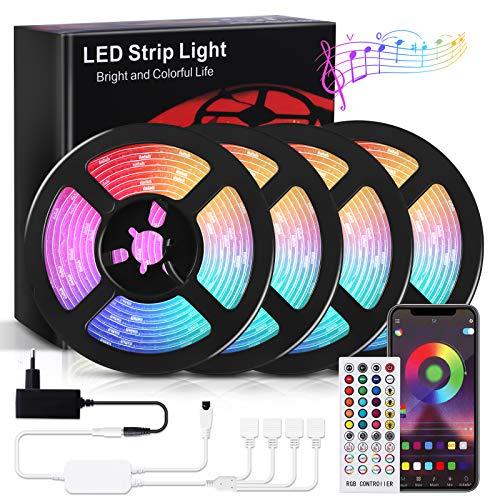 RIWNNI Striscia LED 20 metri, Bluetooth Strisce LED RGB Multicolore, Controllo App e Telecomando, Sincronizza con la Musica, Intelligente Luci Led per Decorazioni, Camera da Letto, Cucina, Bar, Feste