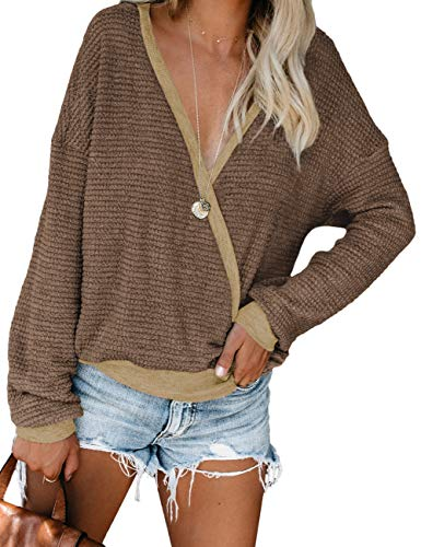 "✦Features: Deep V Neck Sweaters(it's reversible,the side of ""V"" can be worn at the front or back),Wrap Front Tops,Solid Color Casual Shirts,Batwing Sleeve Knitted Pullover,Oversized Style. ✦Match: The Sexy Wrap Front is Perfect to Wear with a Pretty ..."