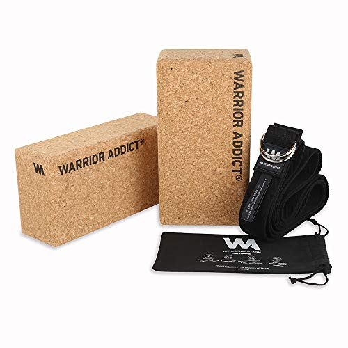 Warrior Addict Beginners Yoga Blocks Set of 2 with Cotton Yoga Strap - Provides Stability,...