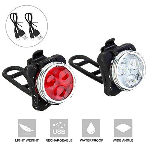 Kit d'Éclairage Vélo Rechargeable, SGODDE Lampe de Vélo Avant et Arrière LED Puissant, 4 Modes...