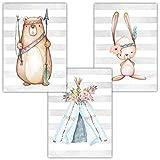 Frechdax Lot de 3 affiches pour chambre d'enfant/bébé – Format DIN A4 –...