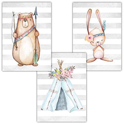 Frechdax® 3er Set Kinderzimmer Babyzimmer Poster Bilder DIN A4 | Mädchen Junge Deko | Dekoration Kinderzimmer | Waldtiere REH Fuchs Hase (3er Set Indianer,Bär,Tipi,Hase)