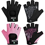 2 Pairs Workout Gloves Women Adjustable Weight Lifting Gloves Gym Exercise Workout Gloves Breathable Training Gloves for Men and Women Fitness, Biking, Pull up, Cycling (Black, Pink,Small)