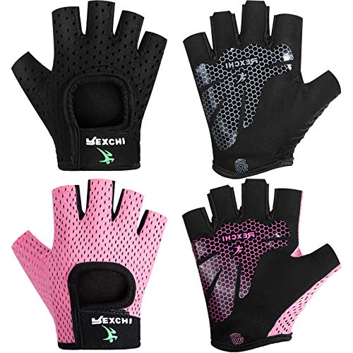 2 Pairs Workout Gloves Adjustable Weight Lifting Gloves Gym Exercise Workout Gloves Breathable Training Gloves for Men and Women Fitness, Biking, Pull up, Cycling (Black, Pink, S)