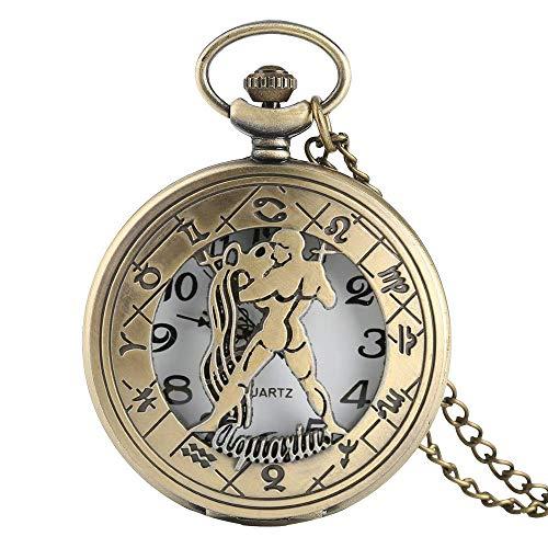YXDEW Pocket watch Strange Aquarius Watch Men Women Necklace with Chain Pocket Watches Constellation Pendant Birthday Gifts Children Friend Retro Punk