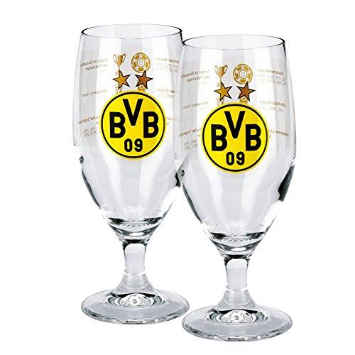 Borussia Dortmund set van 2 glas/bierglas/pilsglas/tulbe/drinkglas - successen BVB 09 - plus gratis sticker forever Dortmund