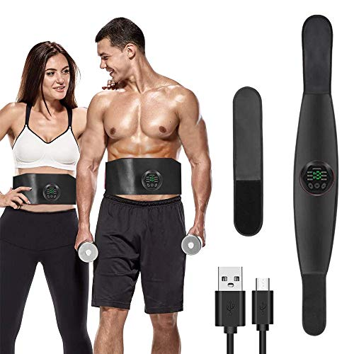 ABS Trainer Muscle Stimulator, Stomach Toner ABS Stimulator Man EMS Belt Abdominal Exerciser Toning Belt Arm Leg Trainer Fitness Training Gym Workout for Women (No Need Replacement Pads or Gel)
