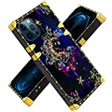 Fiyart iPhone 12 6.1' iPhone 12 PRO 6.1 Inch 2020 Case Moon Star Luxury Square Soft TPU and Hard PC Back Stylish Retro Cover
