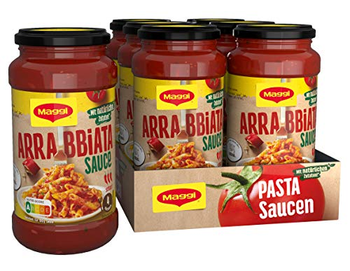 Maggi Pasta Sauce Arrabbiata Nudelsauce mit natürlichen Zutaten, scharf, 6er Pack (6 x 500g)