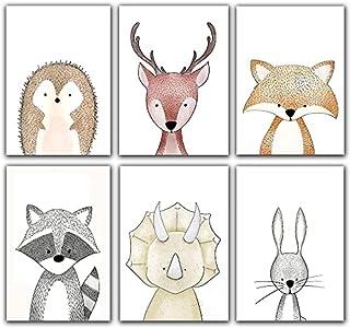 ENON Unframed Woodland Animals Art Print Adorable Paintings,Set of 6(21cm x 30cm) Canvas Cartoon Inspirational Wall Art fo...