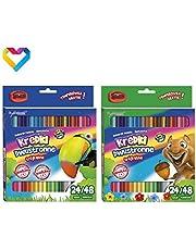 BAMBINO Dwustronne trójkątne kredki do ołówków 24 ołówki 48 kolorów - KREDKI BAMBINO