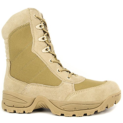 WIDEWAY Men's 8'' Military Tactical Boots Outdoor Water Resistant Boots with Zipper