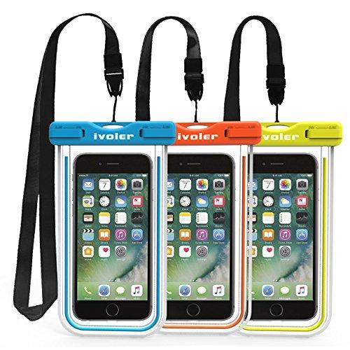 ivoler [3 Unidades Funda Bolsa Móvil Impermeable Universal para Xiaomi, iPhone, Samsung Galaxy, Huawei, Smartphones, Monedas, Pasaporte, etc. (Azul+Verde+Naranja)