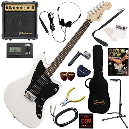 Squier エレキギター 初心者 入門 ハムバッッキングPUを搭載したジャズマスター。 10wアンプが入ったスタンダード15点セット Affinity Jazzmaster HH/AWT(アークティックホワイト)