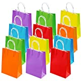 Cooraby 30 Pieces Birthday Gift Paper Kraft Bags Party Favor Bags Goody Paper Bags Rainbow Colors with Handle for Birthday, Shopping, Wedding