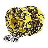 GLOGLOW 2 piezas de barra de bicicleta tipo antideslizante, para bicicleta de carretera, manillar de bicicleta, cinta reflectante + 2 tapones de barra (amarillo + negro)