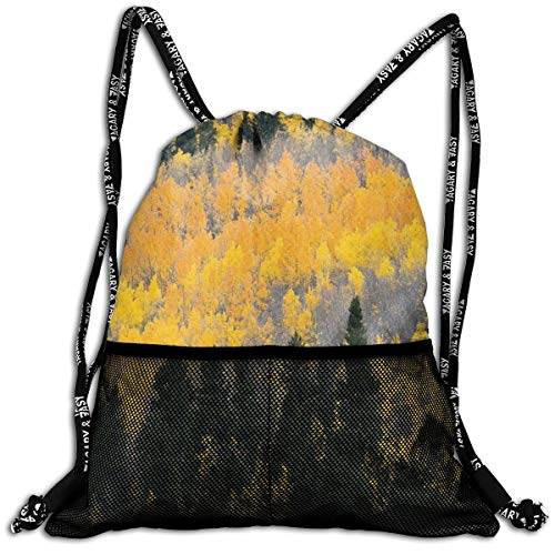 AZXGGV Drawstring Backpack Rucksack Shoulder Bags Gym Bag Sport Bag,Colorful Aspen Forest In Colorado Rocky Mountains Western Wilderness USA Theme