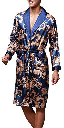 OLIPHEE Herren Satin Bademäntel Paisley Pattern Kimono Morgenmantel Saphirblau-1 EUR M (Asien XL)