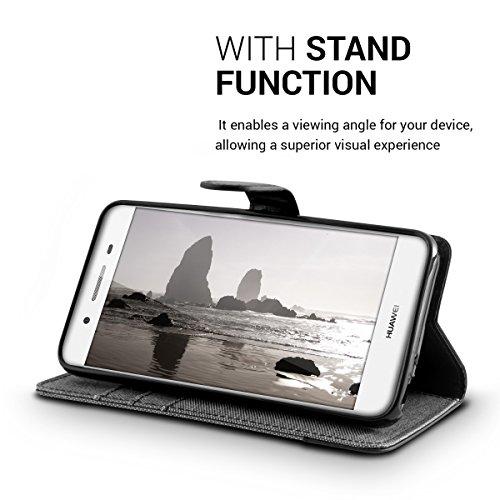 kwmobile Huawei GR3 / P8 Lite SMART Hülle - Kunstleder Wallet Case für Huawei GR3 / P8 Lite SMART mit Kartenfächern und Stand - Grau Schwarz - 6