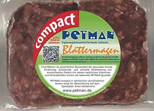 petman compact Blättermagen, 12 x 500g-Beutel, Tiefkühlfutter, gesunde, natürliche Ernährung für Hunde, Hundefutter, Barf, B.A.R.F.