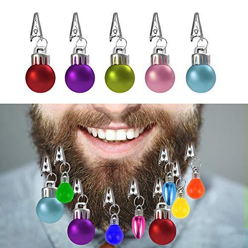 Locisne Bunt 12 Mini Bartkugeln Dekorationen Kugeln mit Haarnadeln Neuheit Spaß Festliches Geschenk für Weihnachten Klassische Neuheit Spaß Festliche Fantastische Party Zubehör