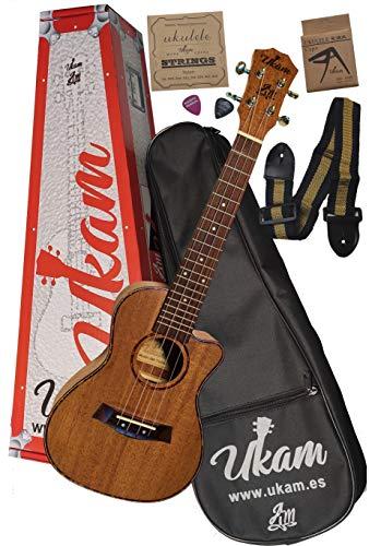 Ukulele Concerto 23' mogano con cutaway UKAM mod.AM-TQ100, con accordatore tipo 'pinza', capotasto speciale ukulele, custodia imbottita con tracolla, set di corde extra e plettri. Nuovo modello