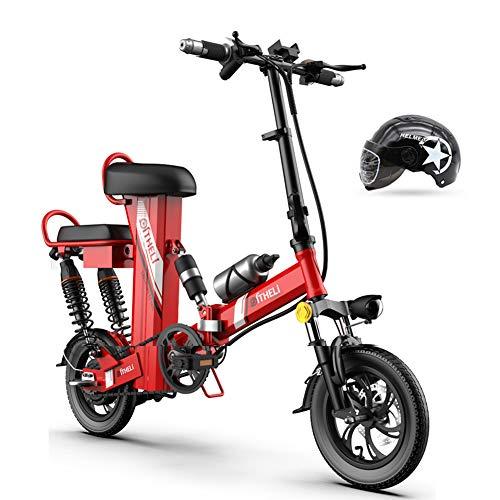Hxl elektrische fiets draagbare 12 inch vouwfiets drie werkmodi met uitneembare 48 V lithium-ion accu, rood, Endurance90km