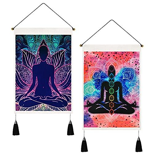 Pack de 2 tapiz de siete chakras para yoga y meditación, tapiz psicodélico de loto hippie para habitación