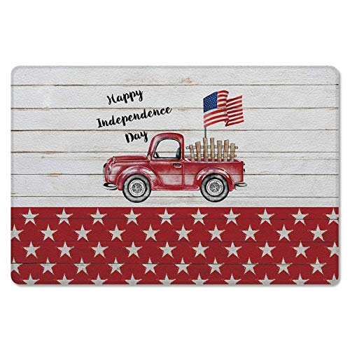 Amanda Walter Felpudo Happy Independence Day Red Truck en Retro Madera Antideslizante Premium Antifatiga Resistente a Las Manchas Alfombra para el hogar 19.5 'x31.5'