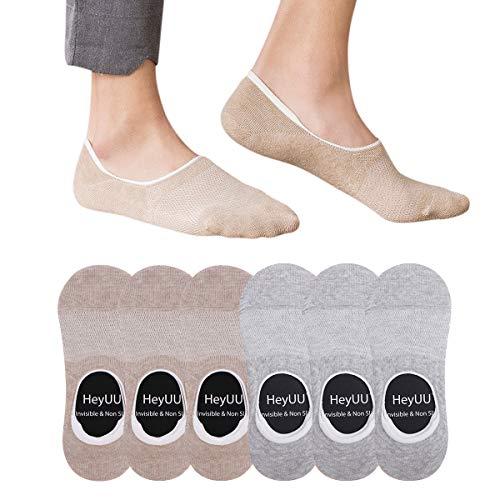 HeyUU 3+3 Paar Herren und Damen Baumwolle Füßlinge Unsichtbare Sneaker Socken Mit 8 Rutschfeste Silikonstreifen(3x Grau+3x Beige,39-42)