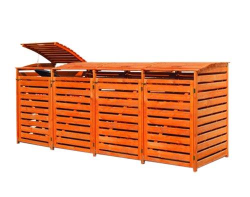 *Gero metall Mülltonnenbox Holz Honigbraun für Vier 240 Liter Mülltonnen*