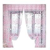 VORCOOL Rideau en voilage transparent avec œillets 100 x 200 cm imprimé floral Rideau décoratif pour chambre à coucher salon fenêtre balcon, Tissu, Rosa, 100x200cm