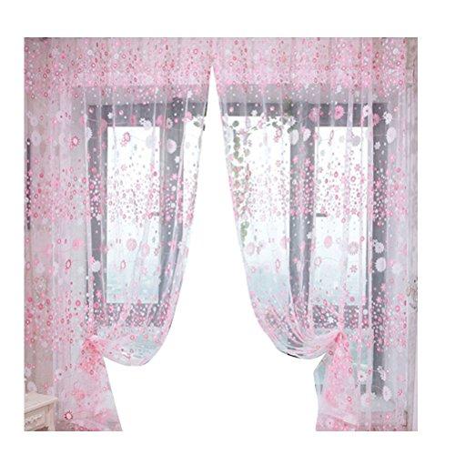 VORCOOL Tende in Voile tenda trasparente con occhielli 100x 200cm fiori stampa tenda decorativa camera da letto soggiorno finestra balcone tende sciarpa, Poliestere, Rosa, 100 x 200 cm