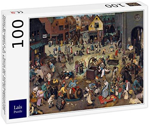 Lais Puzzle Pieter Bruegel el Viejo - Serie de Pinturas en Forma de Arco, Controversia del Carnaval con la Cuaresma 100 Piezas