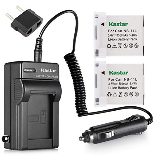 Kastar 2pack Lithium-Ion Battery and AC/DC Battery Charger Kit Replacement for Canon NB-11L NB-11LH and Canon IXUS 175 IXUS 177 IXUS 180 IXUS 185 IXUS 190 IXUS 240 HS IXUS 265 HS IXUS 285 HS Camera