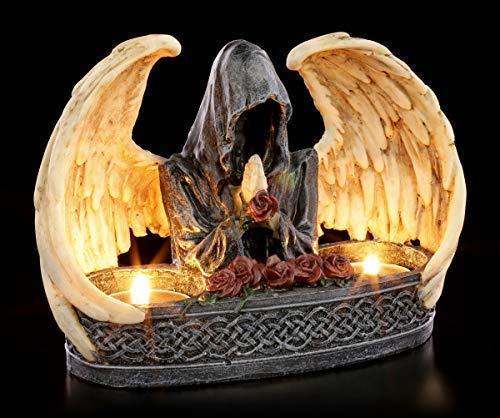 Figuren Shop GmbH Gothic Teelichthalter für 2 Teelichte- Grim Reaper   Gruseliger Kerzenhalter mit geflügeltem Sensenmann, Fantasy Dekoartikel, handbemalt